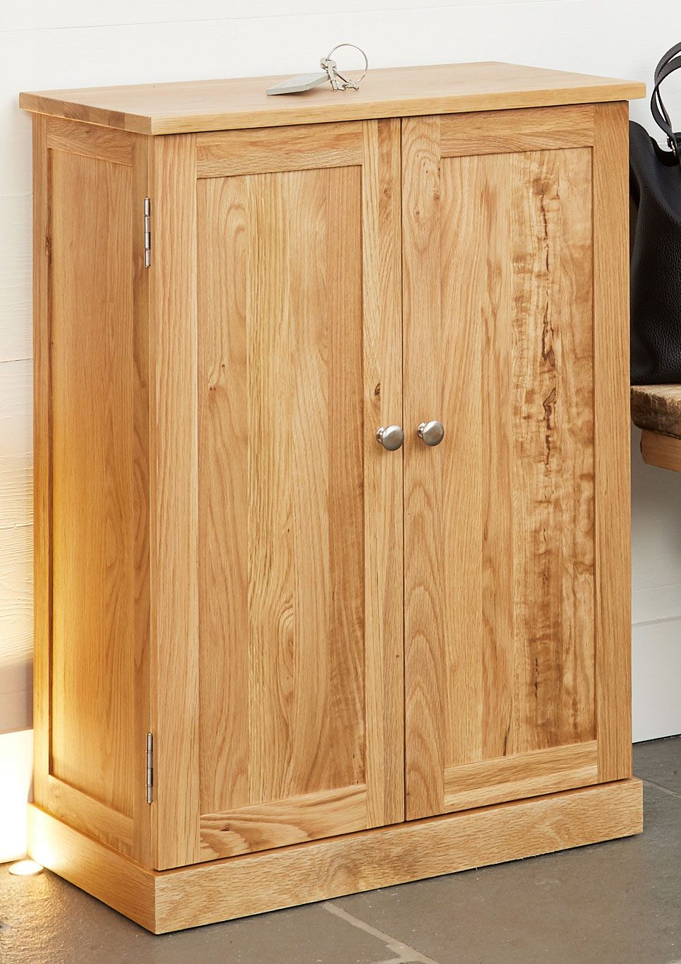 Mobel Oak Shoe Cupboard Shoe Storage Unit Solid Wood